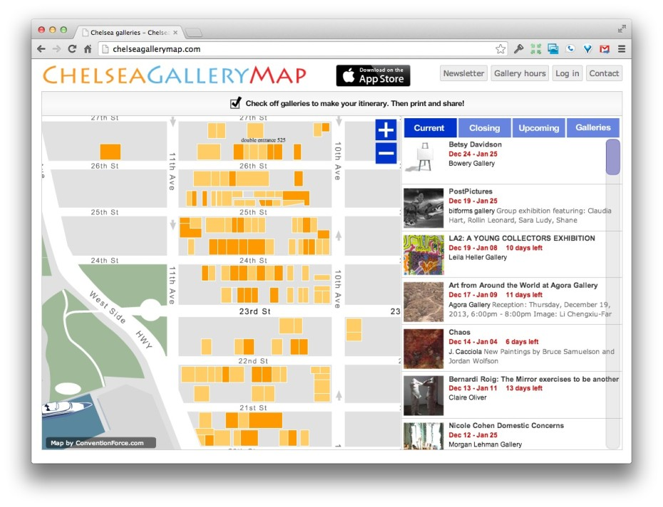 Map of the CHelsea Art Galleries